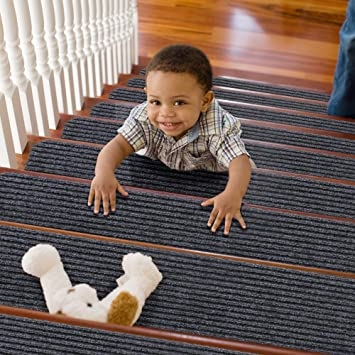 Treadsafe Carpet Stair Treads Non Slip 8 X30 Set Of 15 Non   Carpet For Stairs Amazon   Beige   Non Slip   Flooring   Self Adhesive   Carpet Tiles