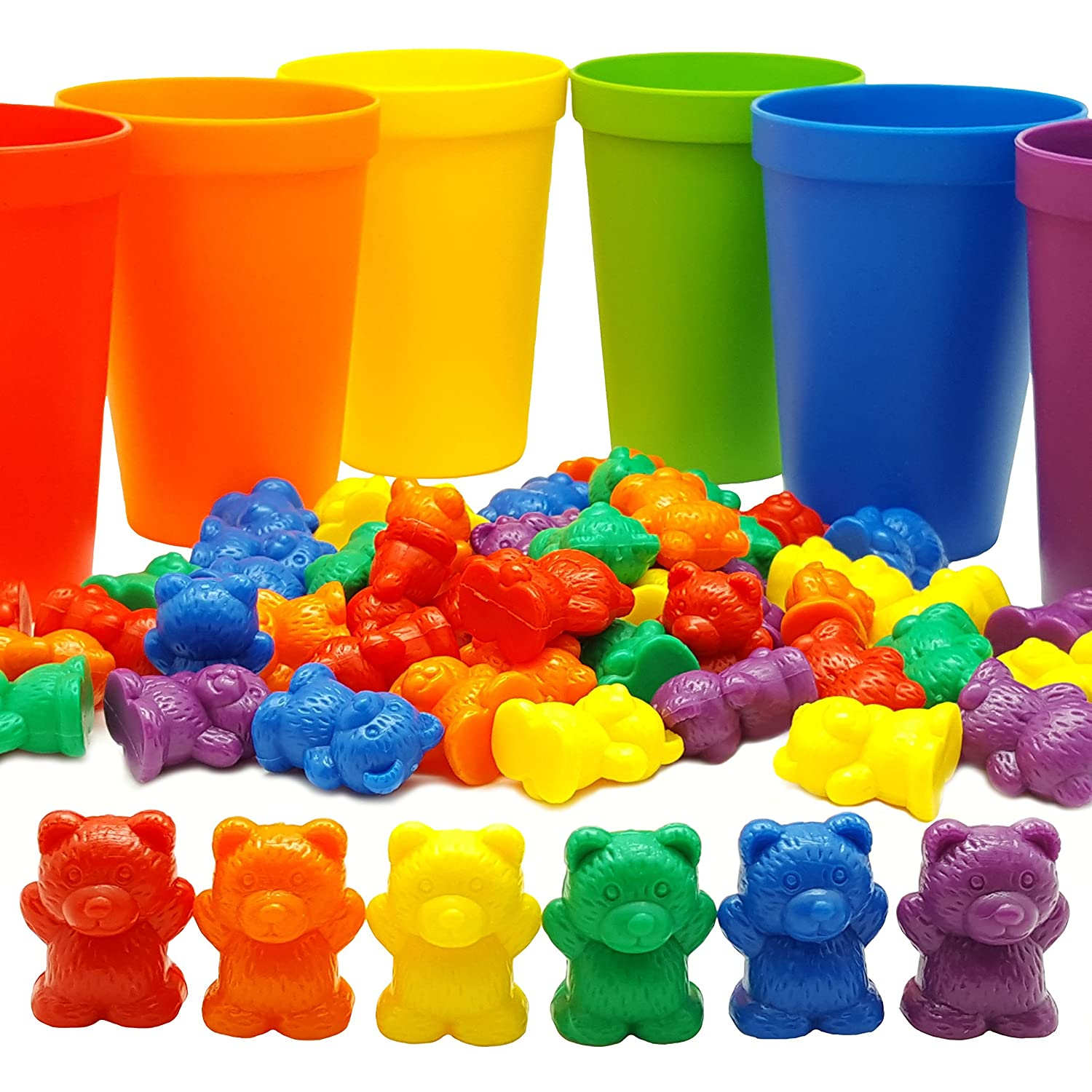 60 Rainbow Counting Bears with 6 Color Matching Sorting Cups Set by Skoolzy- Montessori Toddler Counters & Preschool Math Manipulative Toys for Girls and Boys - Free Activity Guide Download
