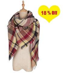 QIXING Women's Tassels Soft Plaid Tartan Scarf Winter Large Blanket Wrap Shawl Black Claret