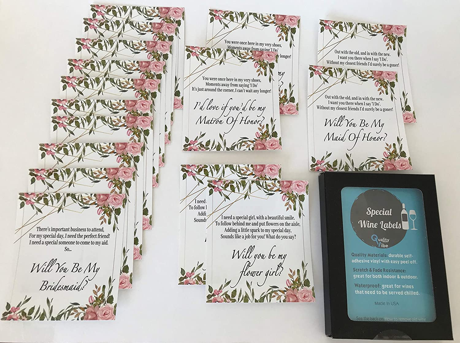 Amazon Com Set Of 16 Labels Will You Be My Bridesmaid Matron Of Honor Maid Of Honor Flower Girl With Poems Ask Bridesmaids Using Beautiful Poems On Labels With Flower Design