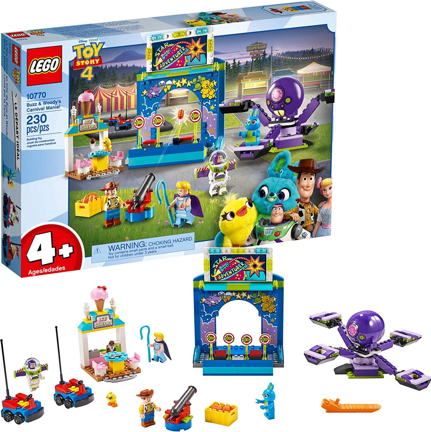 LEGO Disney Pixar's Toy Story 4 Buzz Lightyear & Woody's Carnival Mania 10770 Building Kit, Carnival Playset with Shooting Game & Toy Story Characters (230 Pieces)