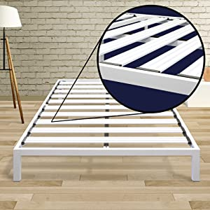 Best Price Mattress Model C Heavy Duty Steel Slat Platform Bed White, King / Sturdy, Durable Metal Bed Frame