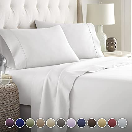 Amazon Com Hotel Luxury Bed Sheets Set 1800 Series Platinum Collection Deep Pocketwrinkle Fade Resistant Kingwhite Home Kitchen