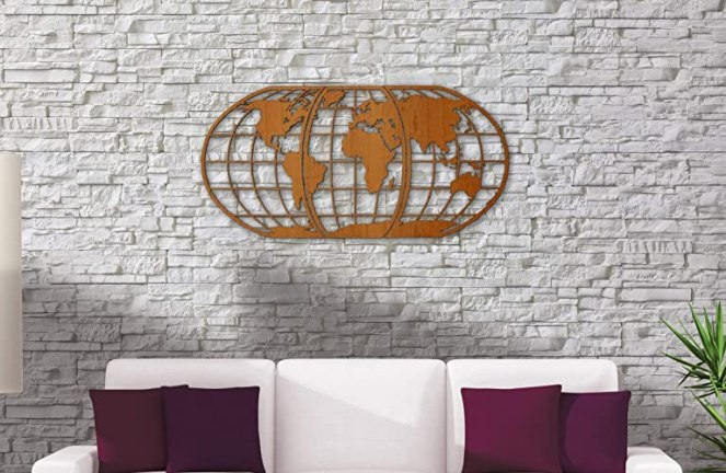 World Map Art 3D Woodcut - Huge Wood Globe Wall Hanging Huge 3D Earth World Map Decor