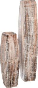 KALALOU Set of White Washed Tall Oblong Wooden Vases