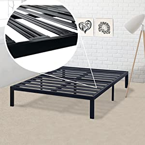 Best Price Mattress Model E Heavy Duty Steel Slat Platform Bed Frame, Box Spring Replacement Foundation, Full, Black