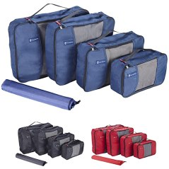 Premium Set of 4 Packing Cubes with BONUS Laundry Bag, Superior Travel Organizer Fits Inside Suitcases, Light Weight, Durable Fabric & Zippers, Highest Quality Materials (Blue)