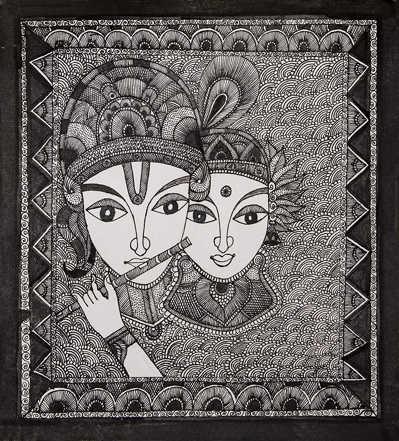 Hunar The Art Gallery Hand Painted Black And White Madhubani Painting On Canvas For Home Wall Decoration Square Shape Amazon In Home Kitchen