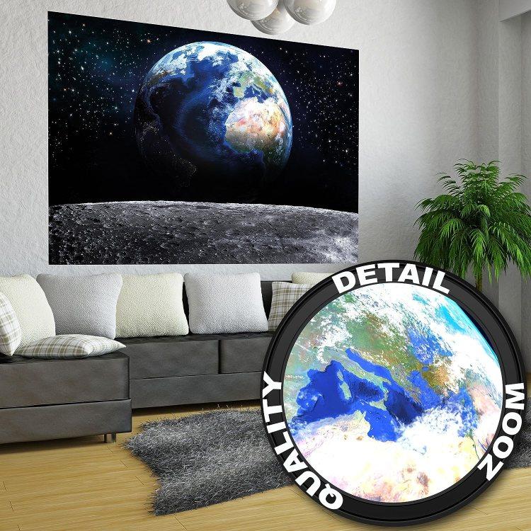 Póster Tierra Mural Decoración Vista a la Tierra desde el espacio Luna Cielo Planeta Galaxia Universo Espacio