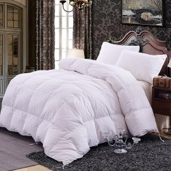 TOPSLEEPY LUXURIOUS ALL SIZE BEDDING GOOSE DOWN FILLING COMFORTER, WHITE (KING SIZE)