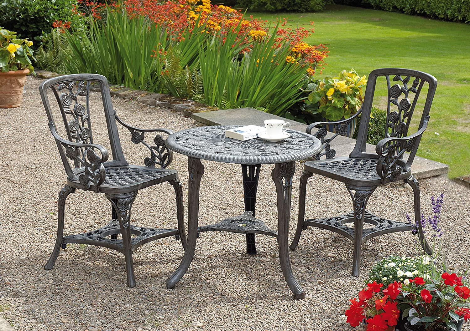 Gablemere 2 Seater Plastic Rose Design Patio Set With Round Bistro Table In Gun Metal Grey Finish Amazon Co Uk Garden Outdoors