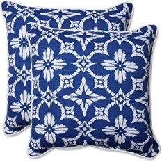 "Pillow Perfect Outdoor/Indoor Aspidoras Throw Pillow (Set of 2), 18.5"", Cobalt"