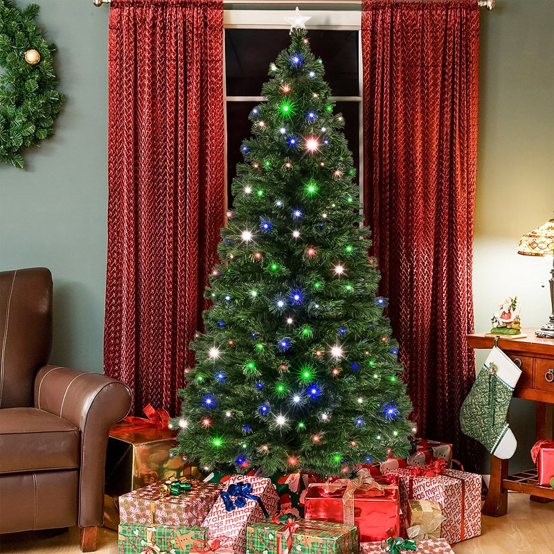 Best Choice Products 7ft Pre Lit Fiber Optic Artificial Christmas Pine Tree W 280