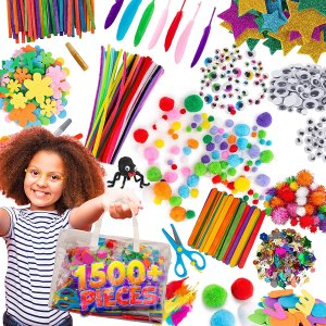 Arts and Craft Supplies for Kids – 1500+pcs in Easy Store Bag, Kids Craft Art Supply, Kids Scrapbooking Craft Set, DIY Crafting Kit, Pipe Cleaners, Pom Poms, Googly Eyes, Feathers, Beads, Age 4 to 12