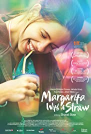 Poster of a smiling woman holding a glass with a straw in her mouth. There is text announcing awards for the film