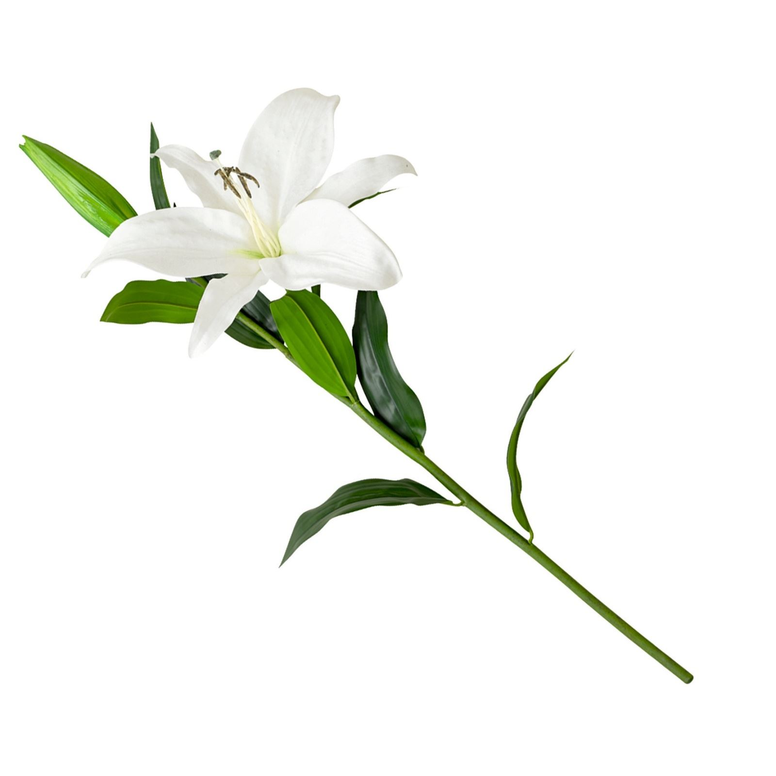 Artificial Single Flower Plant Stem White Casablanca Lily