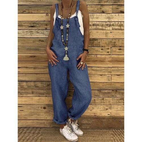 Macacão feminino sem mangas ajustáveis macacão jeans casual macacão no  Soubarato