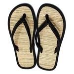 Chinelo de palha japonês em nylon preto liso / sandália zori / lavável, leve e fresca / combinam com qualquer ocasião