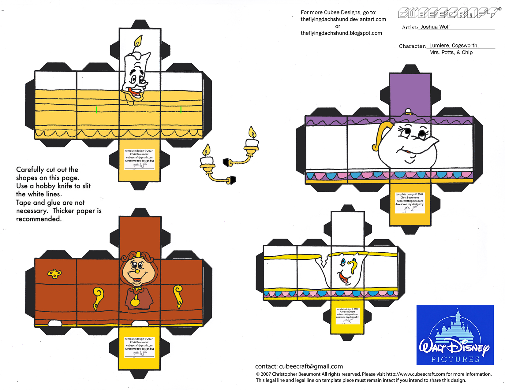 Dis44 Lumiere Cogsworth Mrs Potts Chip Cubees By