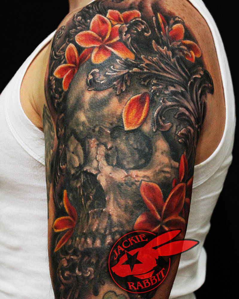a34386260a00f Skull Plumeria Flower Tattoo Jackie Rabbit By Jackierabbit12 On