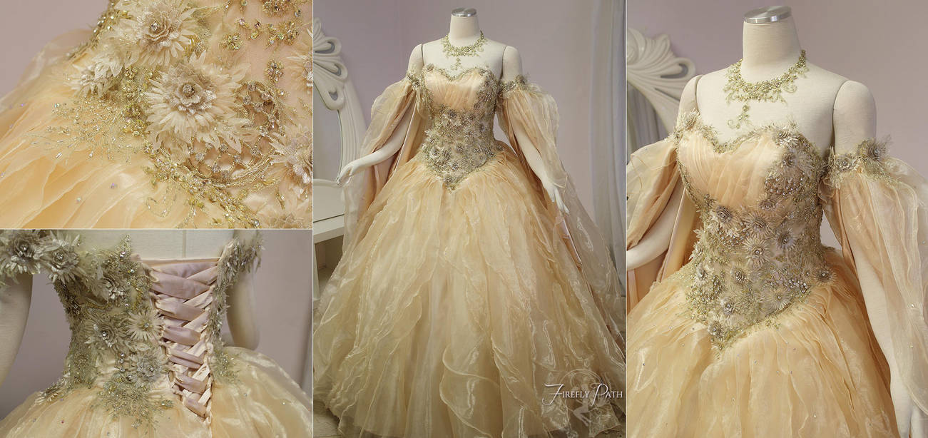 Champagne Peach Fantasy Bridal Gown By Firefly-Path On