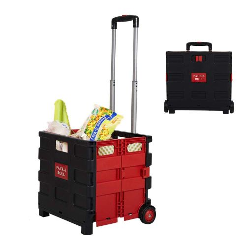 Pack N' Roll Folding Rolling Trolley Crate - Folds flat and ultra compact when not in use! Great for the store, picnics, household work, gardening and so much more! Stores easily in the trunk, back seat, under the bed etc! It's only 5 pounds, but holds up to FIFTY-FIVE POUNDS! - 13 Deals
