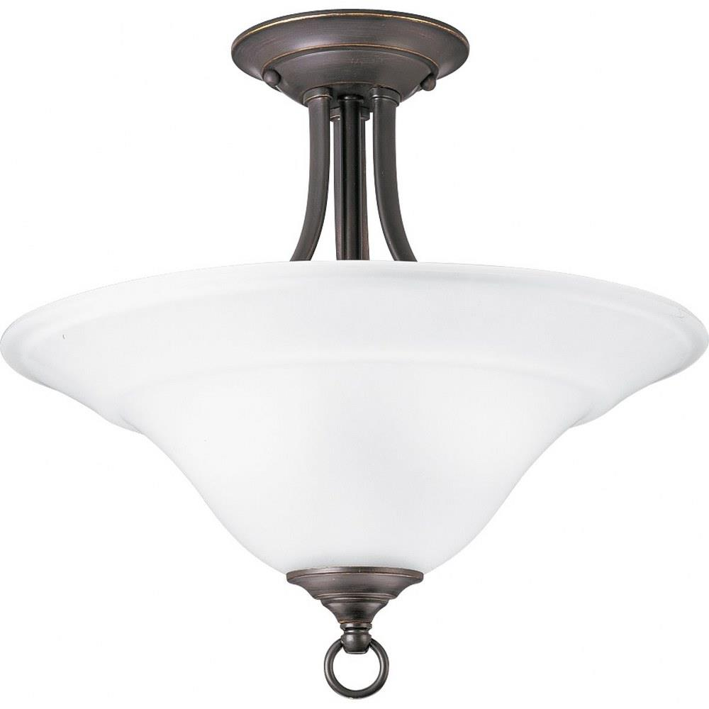 trinity close to ceiling light 2 light inverted bowl shade in transitional and traditional style 16 inches wide by 15 inches high