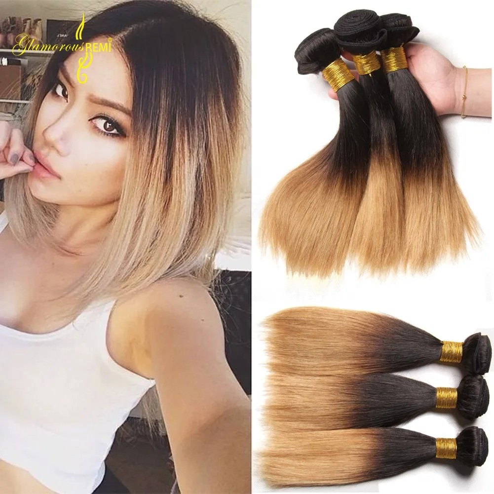 Ombre Straight Hair Bundles Two Tone 1b 27 Virgin Remy