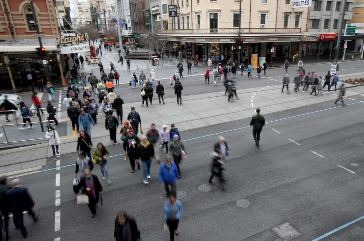 Generic photos of crowds in Rundle Mall in Adelaide.