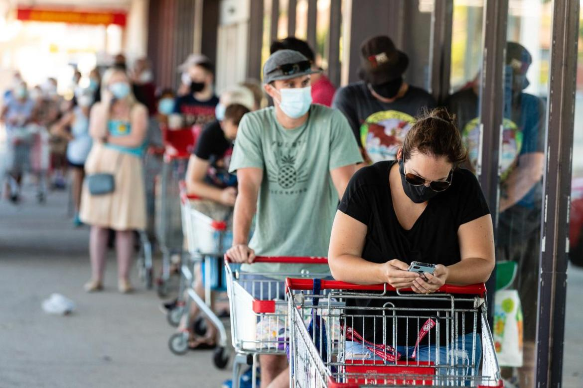 Shoppers wearing masks in Perth, after lockdown restrictions were declared earlier this week.