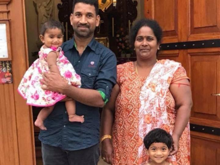 Nadesalingam Murugappan, known as Nades, his wife, Priya, and their two Australian-born children, Kopika, age five, and Tharnicaa, age two.