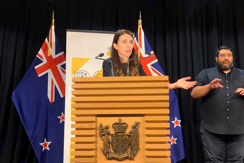 Prime Minister Jacinda Ardern talks to media.