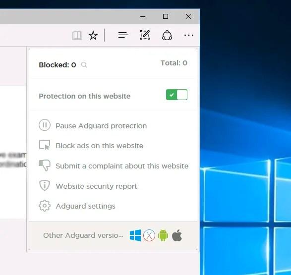 Enabling Adguard AdBlocker on Edge