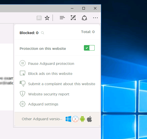Enabling Adguard AdBlocker on Edge