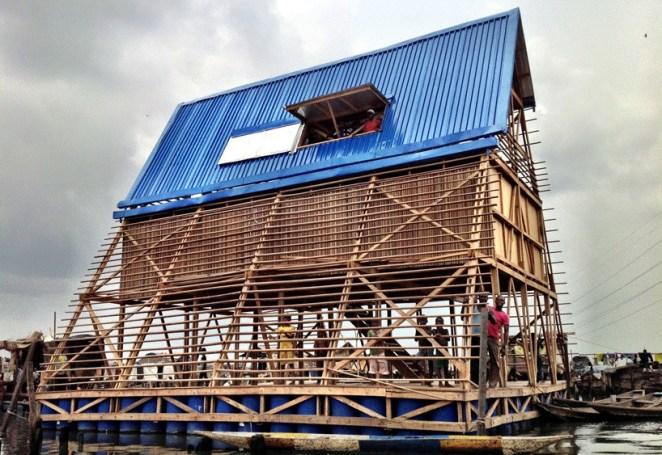 The Makoko Floating School in Lagos, Nigeria. Image © NLÉ Architects