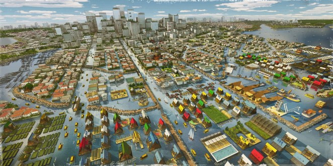 """An urban growth proposal developed for Lagos as part of MoMA's """"Uneven Growth"""" exhibition, developed by NLÉ in collaboration with Zoohaus/Inteligencias Colectivas. Image © NLÉ and Zoohaus/Inteligencias Colectivas"""