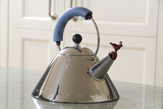 An Alessi kettle designed by Michael Graves. Image © <a href='https://www.flickr.com/photos/dinnerseries/10139775603'>Flickr user dinnerseries</a> licensed under <a href='https://creativecommons.org/licenses/by/2.0/'>CC BY 2.0</a>
