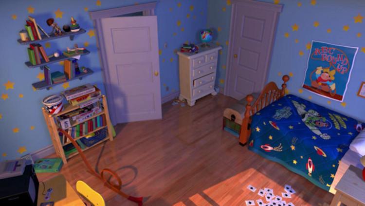 """O quarto de Andy em """"Toy Story"""" muda à medida que seu interesse passa de Woody a Buzz. Imagem © Pixar"""