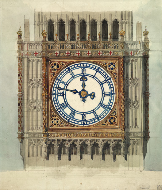 Diseño original del Houses of Parliament / Sir Charles Barry (1838). Imagen © RIBA Collections