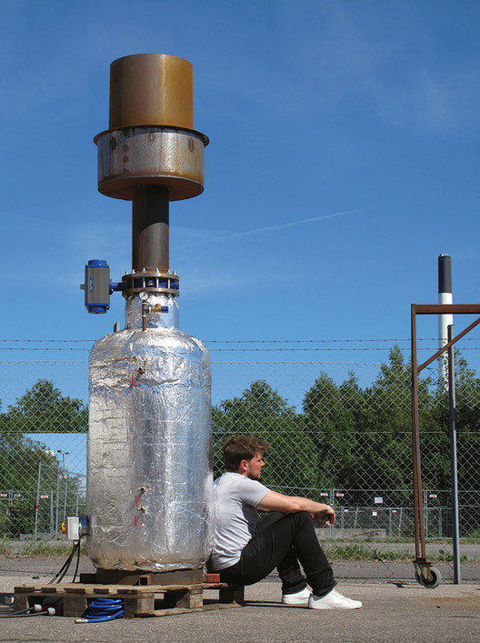 A 1/10th size prototype of BIG's steam ring generator. Image © BIG