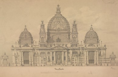 Exhibition: Architectural Master Drawings from the Albertina Collection,Otto Wagner (1841 – 1918) Project of the Cathedral in Berlin Façade elevation, 1891. Image © ALBERTINA, Wien