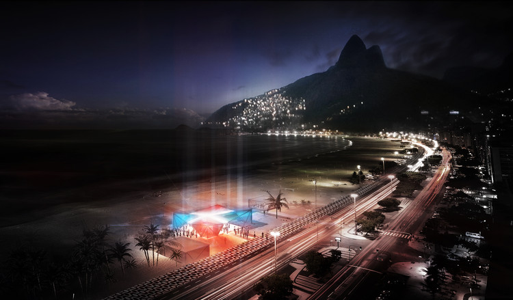 Aerial Rendered Night Time Perspective. Image Courtesy of Henning Larsen