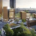 Michael Green Architecture fazia parte de uma equipe que propôs os mais altos edifícios de madeira do mundo como parte da competição Réinventer Paris. Imagem © MGA