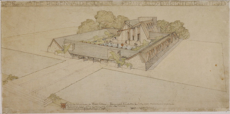 "Rosenwald Foundation School (La Jolla, California). Unbuilt Project. 1928. Pencil and color pencil on tracing paper. 12 3/4 x 25 7/8"" (32.4 x 65.7 cm). Image © The Frank Lloyd Wright Foundation Archives (The Museum of Modern Art 