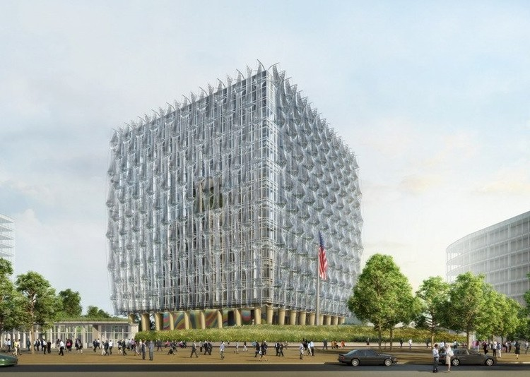 Rendering of Kieran Timberlake's design for the new US Embassy in Nine Elms, slated for completion in 2017