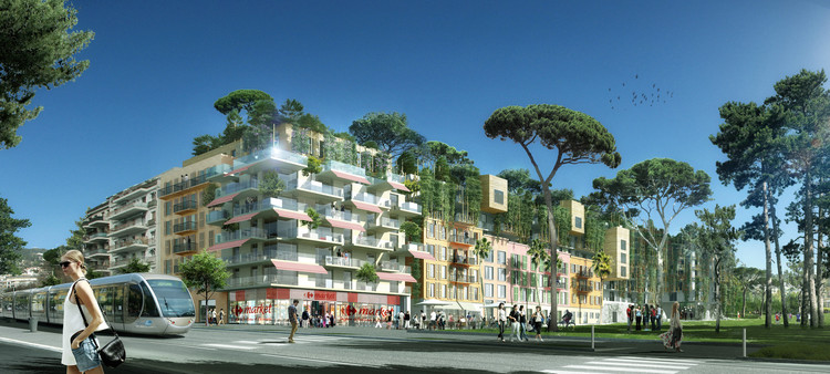 Maison Edouard François Transforms Sports Stadium Into Residential and Commercial Green Space, Courtesy of Maison Edouard Francois