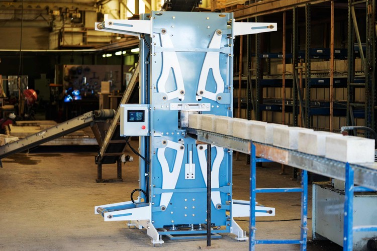 The machine is shown here at Watershed Materials' pilot block factory and research lab in Napa, California. Image Courtesy of Watershed Materials