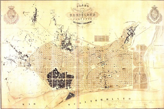 Ildefons Cerdà i Sunyer's 1859 urban plan for Barcelona. Image via Wikimedia Commons under public domain (original source: Museu d'Historia de la Ciutat, Barcelona)