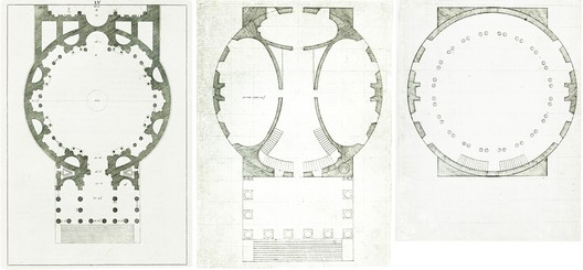 The plan of the Pantheon on the left can be compared to the ground and third floor plans of the Rotunda at the University of Virginia; differences in scale and material required the reduction of the number of columns supporting the front pediment. ImageCourtesy of Wikimedia user Ibn Battuta (Public Domain)