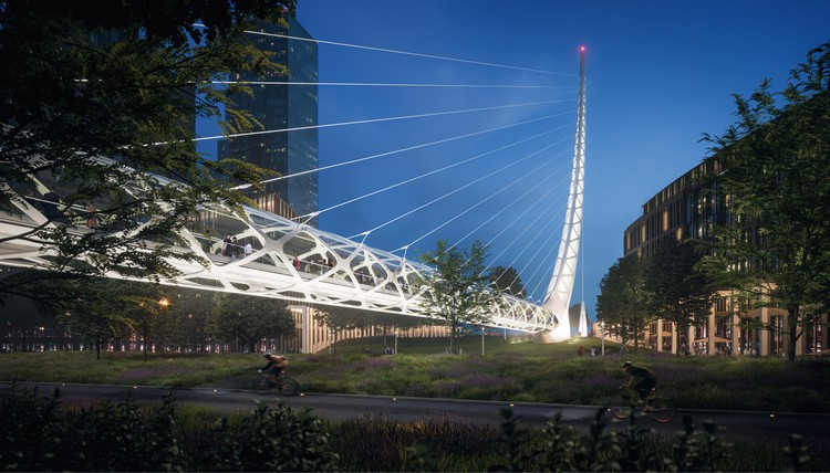 The new footbridge will connect Peninsula Place to the rest of the Greenwich Peninsula. Image © Uniform
